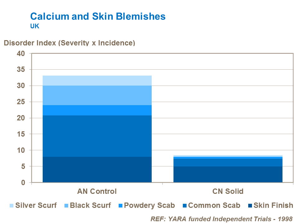 Calcium and potato tuber skin blemishes